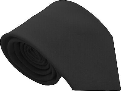 Mens Plain Black Funeral Workwear Formal Tie
