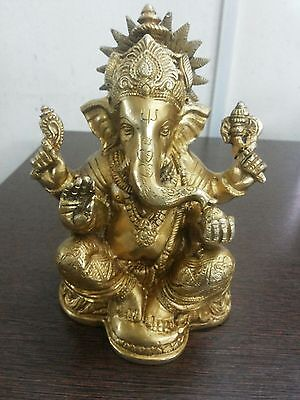 Brass ganesha metal statue hindu god and goddess for wealth 5 inches