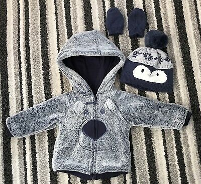 Baby Boys Winter Coat, Hat & Mittens Set 6-9 Months Brand New Without Tags.