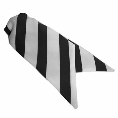 Ladies Clip On Striped Cravat - Black and White