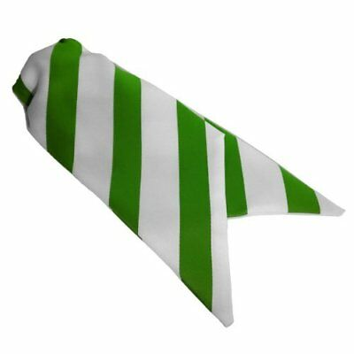 Ladies Clip On Striped Cravats - Emerald and White