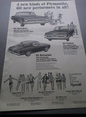 plymouth ad baracuda 65 fury poster vintage mopar newspaper photo
