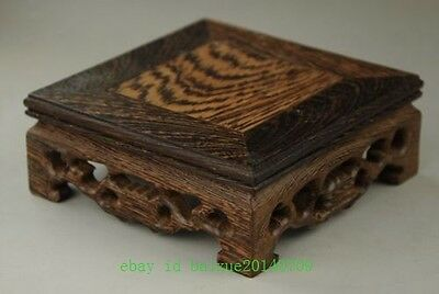 10cm Chinese Hand Carved nice Table Stand Nice square Wood Grain QE78