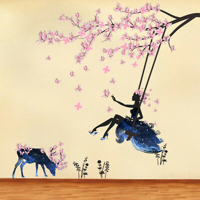 Home Floral Fairy Swing Wall Stickers Kids Room Wall Poster Mural Decor New