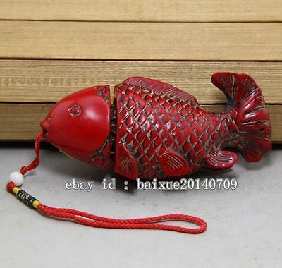 Collectible China Handwork Old Red Resin Carve Goodness fish Statue