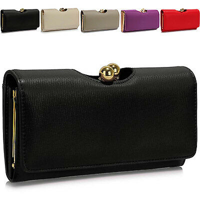 ecedaf0c11d New Trifold Ladies Wallet Faux Leather Women Girl Purse Bobble Clasp Bags UK