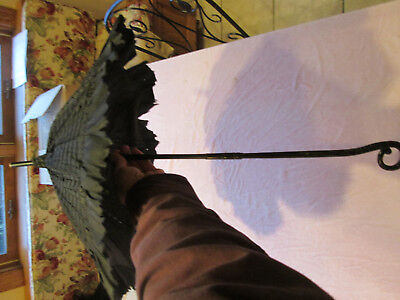 Antique Black Silk? Parasol Umbrella w/ Ebony? Collapsible Handle