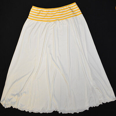 Vintage White Half Slip Petticoat Size M 12 Maglia of Melbourne Yellow Stripes