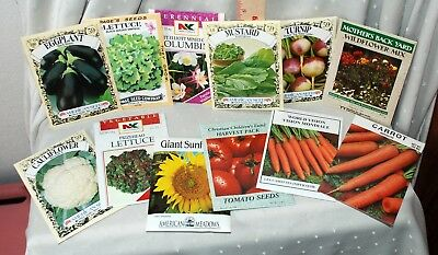 12 Seed Packets (FULL OF SEEDS) 1990s NICE ART Vegetables and Flowers