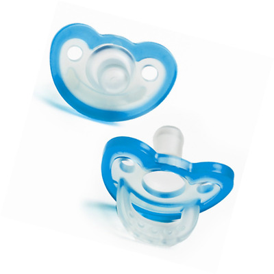 RaZbaby JollyPop Baby Pacifier PLUS, 3m+, BLUE, Double pack