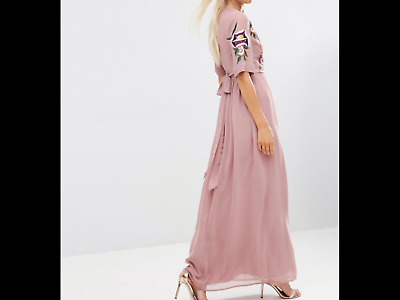 0788bb3f852 Premium Wrap Maxi Dress with Embroidered Peacock and Flower Detail Pink Uk  14