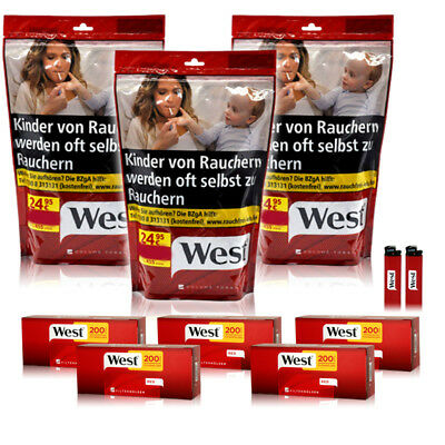 West Tabak 3x 170g Beutel Red Volumentabak + 1000 West Hülsen + 2 Feuerzeuge