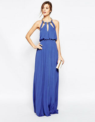 0516c48c9465 Forever Unique Nikita Maxi Dress with Plate Necklace Sax Blue Uk 10 RRP £  220.00
