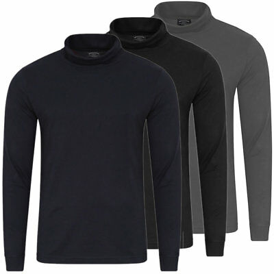 KENSINGTON Mens Long Sleeve Cotton Polo Roll Turtle Neck Pullover Sweater Top