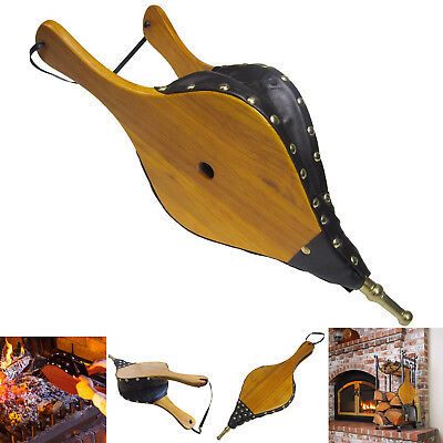 Fireplace Bellows Wood Leather Air Blower Wooden Vintage Fire Pit BBQ Tool 19x8
