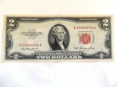1953 United States Two ($2.00) Dollar Red Seal Note