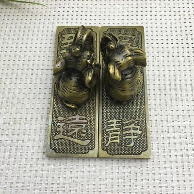 chinese old copper hand engraving Elephant lifting yoke paper weight