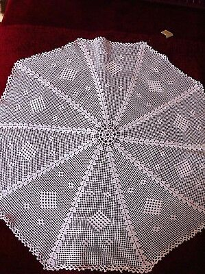 Antique Vintage Greek Hand Crochet Cotton Knitting Decor Table Cover 25 Inches