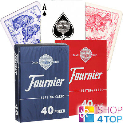 2 Decks Fournier 40 Poker Plastic Coated Playing Cards Red Blue Standard New