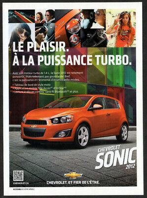 2012 CHEVROLET Sonic Turbo Original Print AD - Red car photo french canadian