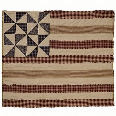 Americana Providence Flag Cotton Quilted Tan/Black/Red Patchwork Throw Blanket