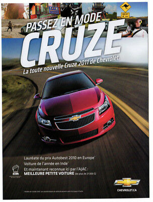 2011 CHEVROLET Cruze Original Print AD - Red car photo french canadian, on road