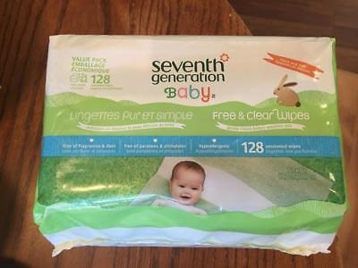 Seventh Generation Free & Clear Baby Wipes 128 Unscented 2x64 Refill Packs