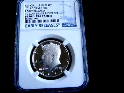 2017 -S  Silver  Kennedy Ngc Early Releases Pr 70 Ucam 10-Coin Proof Set