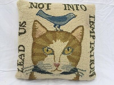 Pray! HOOKED WOOL Cat LEAD US NOT INTO TEMPTATION 17x17 Holiday Decor PILLOW