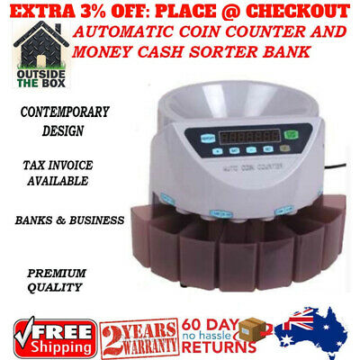 New Australian Automatic Coin Counter and Money Cash Sorter Bank 2 YEAR WARRANTY