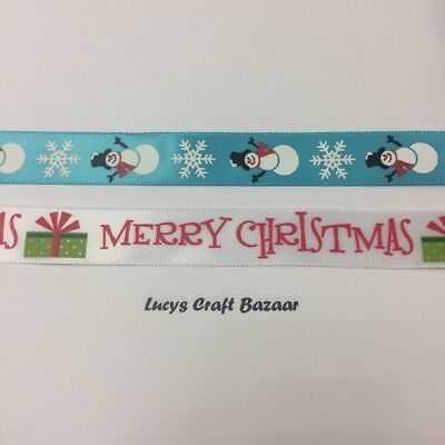 15mm Satin Christmas Ribbon. Sold by the metre Blue Snowman Merry White Gift