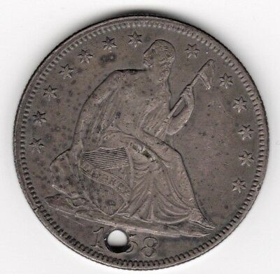 1858 SEATED LIBERTY SILVER HALF DOLLAR w/ HOLE