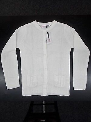 Girls Izod $34 White Uniform Cardigan Sweater Size 10/12 - 18