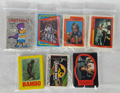 7 x Topps Compete Sticker Sets, TV & Movies, Jurassic Park, Rambo, A Team...