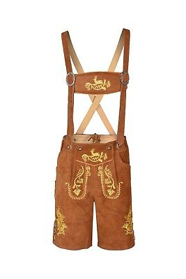 Bavarian Lederhosen Oktoberfest German Real Leather Brown with Matching Shorts