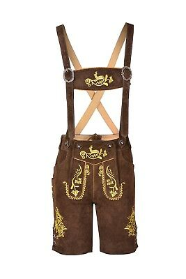 Bavarian Lederhosen Oktoberfest German Leather Choc Brown with Matching Shorts