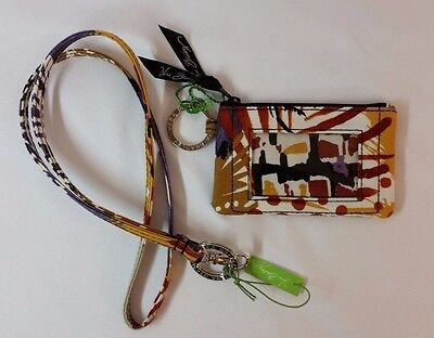 Vera Bradley Lanyard & Zip ID Case in Painted Feathers set lot NWT