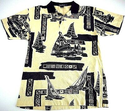 VINTAGE NAUTICA mens shirt M CHALLENGE COMPETITION ALLOVER PRINT n83 sailing