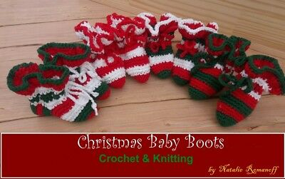 Christmas Baby Boots without sutures! 100% Handmade Organic for Baby 4-12 months