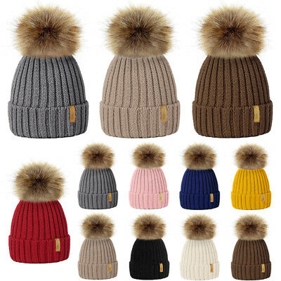 Cute Baby Boy Girl  Hat Winter Warm Fur Pom Pom Knit Beanie Ski Cap Bobble UK