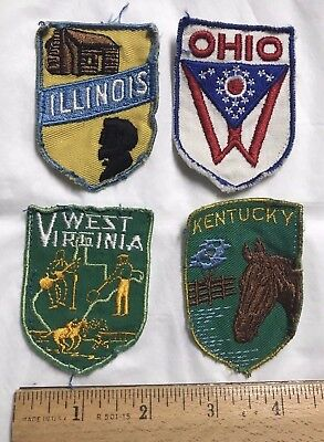 Lot of 4 Assorted US State Embroidered Souvenir Travel Patches OH KY IL WV