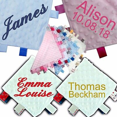 Quality Personalised Baby Taggy Taggie Blanket Comforter Boy Girl Gift Tag Soft