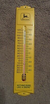 Vintage Metal John Deere Thermometer Yellow/green good condition