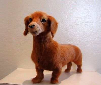 New Standing Duchshund handcrafted furry animals made from goat fur D442BR