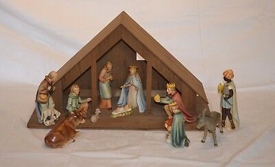 "Vintage Hummel Goebel Large 8"" Nativity Set #214 with Wood Stable 13 Pieces"