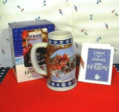 Budweiser Holiday Stein 1995 Brand New w/ Box and Certificate of Authenticity