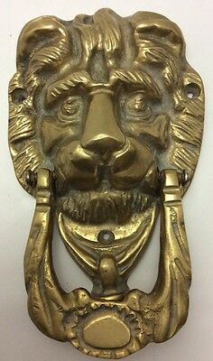 VINTAGE ENGLISH HEAVY SOLID BRASS LION HEAD CASTLE DOOR KNOCKER 1900s