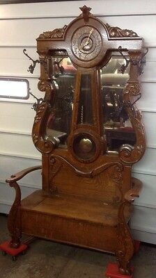 Rare Victorian Oak Clock Hall Tree