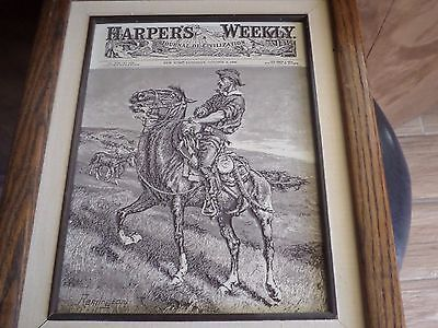 Antique 1886 Harper's Weekly Relief Engraved Wood Template for  Remington Cover