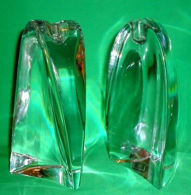 "Pair of Elegant Tieney by Mikasa 6"" Clear Crystal Glass Candle Holders  Slovenia"